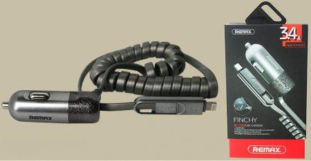 Remax Finchy USB autós töltő 3.4A microUSB / lightning kábellel