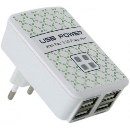 4 x USB Hálózati töltő 5V/4A - Fehér