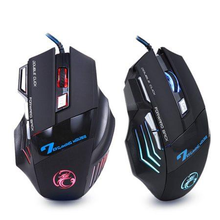 Vezetékes Gaming Mouse 7 gomb 5500DPI LED optikai USB-kábel a számítógépes egér Gamer egerek PC Laptop